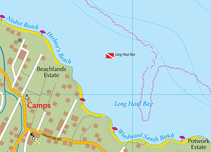 Road Map of St. Kitts (St. Christopher) and Nevis, Caribbean